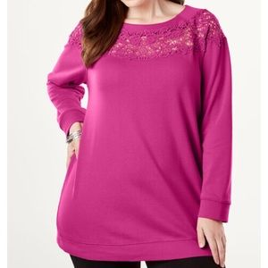 Roaman's Lace Tunic Cotton Terry Sweatshirt